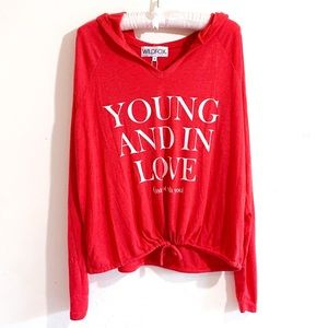 Wildfox Young and in Love Red Hoodie Sweater S